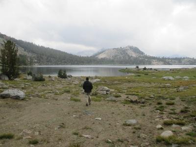 Gannon taking a walk down to the lake.